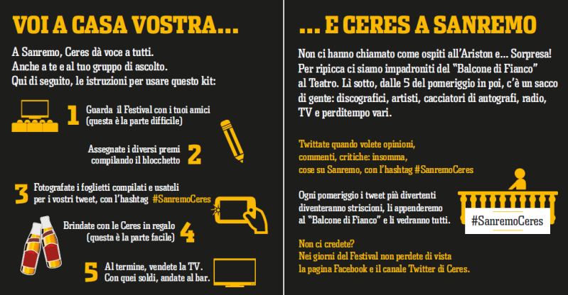 #SanremoCeres, istruzioni per l'uso